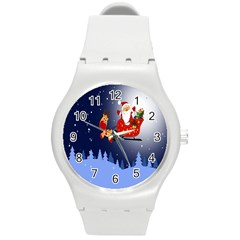 Deer Santa Claus Flying Trees Moon Night Merry Christmas Round Plastic Sport Watch (m) by Alisyart
