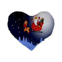 Deer Santa Claus Flying Trees Moon Night Merry Christmas Standard 16  Premium Heart Shape Cushions by Alisyart