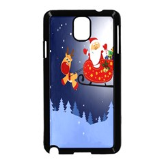 Deer Santa Claus Flying Trees Moon Night Merry Christmas Samsung Galaxy Note 3 Neo Hardshell Case (black) by Alisyart