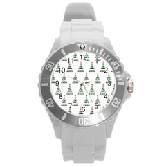 Christmas Tree Green Star Red Round Plastic Sport Watch (l) by Alisyart