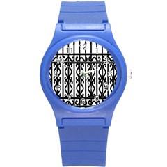 Inspirative Iron Gate Fence Grey Black Round Plastic Sport Watch (s) by Alisyart