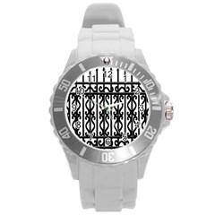 Inspirative Iron Gate Fence Grey Black Round Plastic Sport Watch (l) by Alisyart