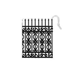 Inspirative Iron Gate Fence Grey Black Drawstring Pouches (xs)  by Alisyart