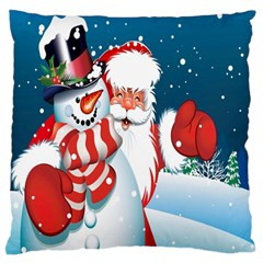Hello Merry Christmas Santa Claus Snow Blue Sky Large Flano Cushion Case (two Sides) by Alisyart