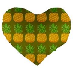 Fruite Pineapple Yellow Green Orange Large 19  Premium Flano Heart Shape Cushions by Alisyart
