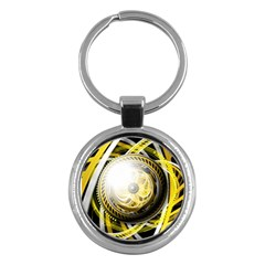 Incredible Eye Of A Yellow Construction Robot Key Chains (round)  by beautifulfractals