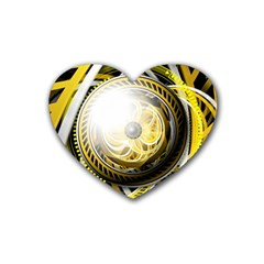 Incredible Eye Of A Yellow Construction Robot Heart Coaster (4 Pack)  by jayaprime