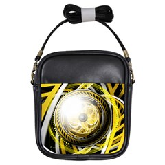 Incredible Eye Of A Yellow Construction Robot Girls Sling Bags by jayaprime