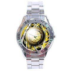 Incredible Eye Of A Yellow Construction Robot Stainless Steel Analogue Watch by beautifulfractals