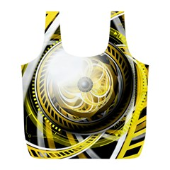 Incredible Eye Of A Yellow Construction Robot Full Print Recycle Bags (l)  by jayaprime