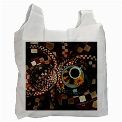 Midnight Never Ends, A Red Checkered Diner Fractal Recycle Bag (one Side) by jayaprime