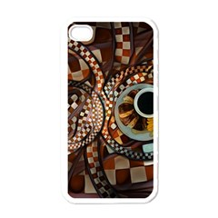 Midnight Never Ends, A Red Checkered Diner Fractal Apple Iphone 4 Case (white) by beautifulfractals