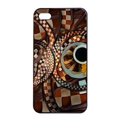 Midnight Never Ends, A Red Checkered Diner Fractal Apple Iphone 4/4s Seamless Case (black) by beautifulfractals