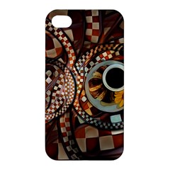 Midnight Never Ends, A Red Checkered Diner Fractal Apple Iphone 4/4s Hardshell Case by beautifulfractals