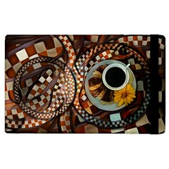 Midnight Never Ends, A Red Checkered Diner Fractal Apple Ipad 3/4 Flip Case by beautifulfractals