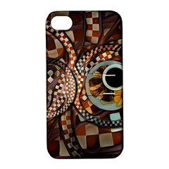 Midnight Never Ends, A Red Checkered Diner Fractal Apple Iphone 4/4s Hardshell Case With Stand by beautifulfractals