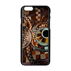 Midnight Never Ends, A Red Checkered Diner Fractal Apple Iphone 6/6s Black Enamel Case by beautifulfractals