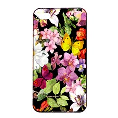 Beautiful,floral,hand Painted, Flowers,black,background,modern,trendy,girly,retro Apple Iphone 4/4s Seamless Case (black) by 8fugoso