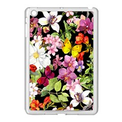 Beautiful,floral,hand Painted, Flowers,black,background,modern,trendy,girly,retro Apple Ipad Mini Case (white) by 8fugoso