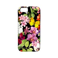 Beautiful,floral,hand Painted, Flowers,black,background,modern,trendy,girly,retro Apple Iphone 5 Classic Hardshell Case (pc+silicone) by 8fugoso