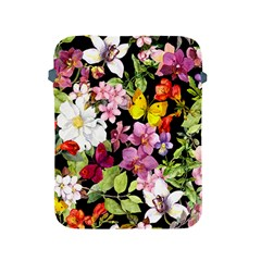 Beautiful,floral,hand Painted, Flowers,black,background,modern,trendy,girly,retro Apple Ipad 2/3/4 Protective Soft Cases by 8fugoso
