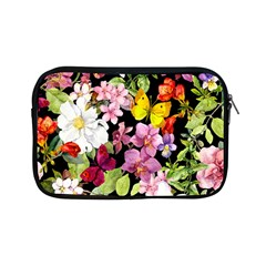 Beautiful,floral,hand Painted, Flowers,black,background,modern,trendy,girly,retro Apple Ipad Mini Zipper Cases by 8fugoso