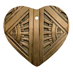 Art Deco Gold Door Heart Ornament (two Sides) by 8fugoso