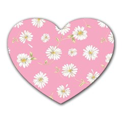 Pink Flowers Heart Mousepads by 8fugoso