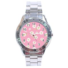 Pink Flowers Stainless Steel Analogue Watch by 8fugoso