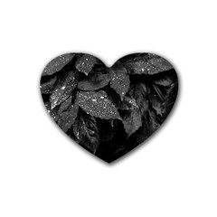 Black And White Leaves Photo Heart Coaster (4 Pack)  by dflcprintsclothing