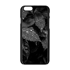 Black And White Leaves Photo Apple Iphone 6/6s Black Enamel Case by dflcprintsclothing