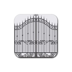 Inspirative Iron Gate Fence Rubber Square Coaster (4 Pack)  by Alisyart
