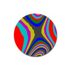 Pattern Rainbow Colorfull Wave Chevron Waves Magnet 3  (round) by Alisyart