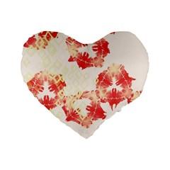 Pattern Flower Red Plaid Green Standard 16  Premium Heart Shape Cushions by Alisyart