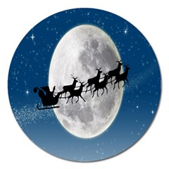 Santa Claus Christmas Fly Moon Night Blue Sky Magnet 5  (round) by Alisyart
