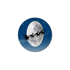Santa Claus Christmas Fly Moon Night Blue Sky Golf Ball Marker (10 Pack) by Alisyart