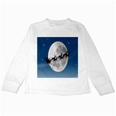 Santa Claus Christmas Fly Moon Night Blue Sky Kids Long Sleeve T Shirts by Alisyart