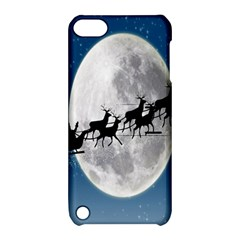 Santa Claus Christmas Fly Moon Night Blue Sky Apple Ipod Touch 5 Hardshell Case With Stand by Alisyart