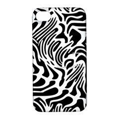 Psychedelic Zebra Pattern Black Apple Iphone 4/4s Hardshell Case With Stand by Alisyart