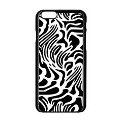 Psychedelic Zebra Pattern Black Apple Iphone 6/6s Black Enamel Case by Alisyart