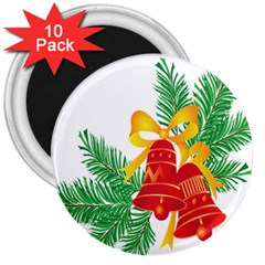 New Year Christmas Bells Tree 3  Magnets (10 Pack)