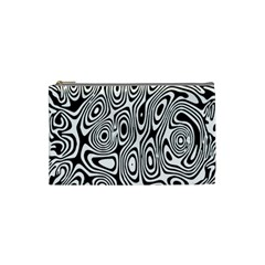 Psychedelic Zebra Black Circle Cosmetic Bag (small)  by Alisyart
