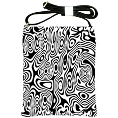 Psychedelic Zebra Black Circle Shoulder Sling Bags by Alisyart
