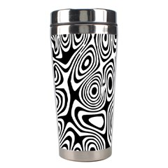 Psychedelic Zebra Black Circle Stainless Steel Travel Tumblers by Alisyart
