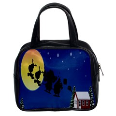 Santa Claus Christmas Sleigh Flying Moon House Tree Classic Handbags (2 Sides) by Alisyart