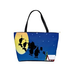 Santa Claus Christmas Sleigh Flying Moon House Tree Shoulder Handbags by Alisyart