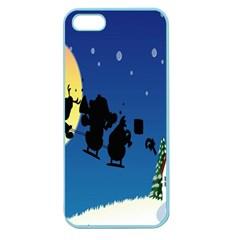Santa Claus Christmas Sleigh Flying Moon House Tree Apple Seamless Iphone 5 Case (color) by Alisyart
