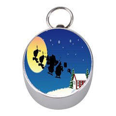 Santa Claus Christmas Sleigh Flying Moon House Tree Mini Silver Compasses by Alisyart