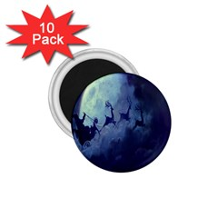 Santa Claus Christmas Night Moon Happy Fly 1 75  Magnets (10 Pack)  by Alisyart