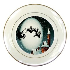 Santa Claus Christmas Snow Cool Night Moon Sky Porcelain Plates by Alisyart